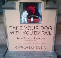 'Big Four' reproduction poster <I>Take your dog with you by rail</I> on display at Waverley station on 25 August 2015 [see image 50973].<br><br>[John Yellowlees&nbsp;25/08/2015]