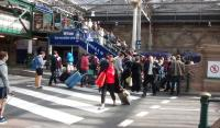 It's not so long since there was no escalator - or even stair - between the the platform 11 area and the upper walkway at Waverley. Sometimes it's hard to see how people managed as this view during the Edinburgh Festival shows. I suppose it's a bit like building roads...<br> <br><br>[David Panton&nbsp;24/08/2015]
