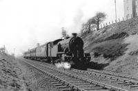 Gresley V1 67633 near Garrowhill on 14 April 1958 with a Hyndland - Airdrie train. <br><br>[G H Robin collection by courtesy of the Mitchell Library, Glasgow&nbsp;14/04/1958]