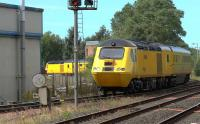 Network Rail NMT rail infrastructure set 43013 TNT 43062 at Kilmarnock on 18 August 2015. The train is the 1Q26 Ayr to Carlisle via the G&SW line, on the first day of resumption of non passenger traffic since the New Cumnock derailment.<br><br>[Ken Browne&nbsp;18/08/2015]