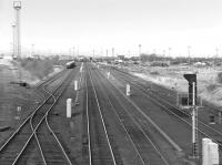 Looking north over Millerhill Yard from Old Craighall Road bridge on 18 March 1987, with the former Waverley Route main line running through the centre.<br><br>[Bill Roberton&nbsp;18/03/1987]