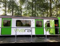 Vivarail D-Train in the short platform at Long Marston on 17 August 2015. The D-Train, rebuilt around former LU D78 stock, is currently undergoing testing here [see recent news item].<br><br>[Ian Dinmore&nbsp;17/08/2015]