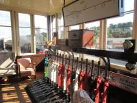 Interior of Bo'ness signal box on 29 August 2015, with an Austerity 0-6-0 tank passing.<br><br>[John Yellowlees&nbsp;29/08/2015]
