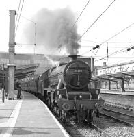 45699 <I>Galatea</I> brews up in platform 3 at Carlisle on 13 August 2015, shortly before setting off with the up Dalesman for York, which it will work as far as Hellifield.<br><br>[Bill Jamieson&nbsp;13/08/2015]