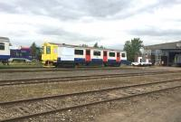 Ex-LU D78 car with 'modified front end' in the yard at Long Marston on 17 August 2015. The 'modification' resulted from a controlled crash into a 3 tonne tank of water during testing of the bodyshells, which are being converted to low cost 'D-Train' DMUs by Vivarail. <br><br>[Ian Dinmore&nbsp;17/08/2015]