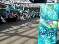 The weekend market on the east concourse at Waverley is having a Borders Railway theme. I was somehow hoping for a rail relics stall, but tragically had to content myself with one selling beer from the borders.<br> <br><br>[David Panton&nbsp;05/09/2015]