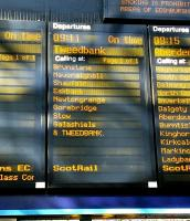 Sunday morning, 6 September 2015 and the first scheduled departure to Midlothian and the Borders since 1969 is announced at Waverley. Pity she is pronouncing Stow incorrectly but I'm sure that will soon be fixed. <br> <br><br>[David Panton&nbsp;06/09/2015]