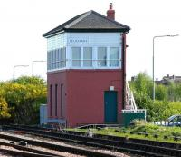 Leuchars signal box in May 2005, photographed looking north from the station platform. <br><br>[John Furnevel&nbsp;19/05/2005]