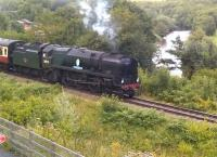 There is a fine view of railway and river from the balcony on the Engine House museum at Highley. Engine 34053, <I>Sir Keith Park</I>, is passing by on 26th August with a train for Kidderminster. <br><br>[Ken Strachan&nbsp;26/08/2015]