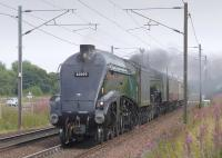 Royal train locomotives 60009 <I>Union of South Africa</I> and 60163 <I>Tornado</I> pass St Germains on their way north from Tyne Yard to Millerhill on 8 September.<br><br>[Bill Roberton&nbsp;08/09/2015]