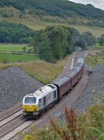67026 'Diamond Jubilee' nears Stow (or Stoh according to the announcer) with the returning special from Tweedbank. 'Tornado' is at the rear.<br><br>[Bill Roberton&nbsp;13/09/2015]
