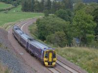 158731 and 158722 pass the Gala water as they near Stow with a service to Edinburgh.<br><br>[Bill Roberton&nbsp;13/09/2015]