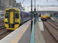 158789 at Platform 7 with the 09.11 to Tweedbank.  Sleeper loco 92032 and Thunderbird 67003 re in the bays.<br><br>[Bill Roberton&nbsp;13/09/2015]