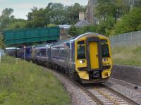 158718 and 158786 enter Gorebridge with a southbound train.<br><br>[Bill Roberton&nbsp;13/09/2015]