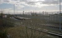 Since removal of the bing at the north end of Mossend Yard it has become much harder to get an overview of the yard. This was my attempt in 2001. The Euroterminal is on the left.<br><br>[Ewan Crawford&nbsp;//2001]