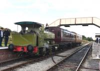 Barclay 0-4-0ST <I>Rosyth No 1</I> at Furnace Sidings station on 12 September while operating a shuttle service between the Whistle Inn and the Big Pit Museum.<br><br>[Peter Todd&nbsp;12/09/2015]