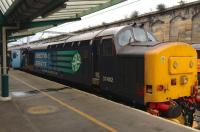 The 1737 Cumbrian Coast service is about to leave Carlisle on Monday 16 September 2015 with 37402 propelling.<br><br>[Bruce McCartney&nbsp;16/09/2015]