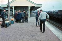 Aviemore station in the 1960s looking north. The group are possibly changing trains to go to Nethybridge. St Andrews, Turnberry or Gleneagles might have been more appropriate.<br><br>[James Crawford&nbsp;//]