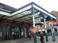Entrance canopy at Wigan Wallgate station. The running lines are below street level here.<br><br>[Veronica Clibbery&nbsp;17/09/2015]