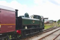 Scene on the Pontypool and Blaenavon Railway on 12 September 2015, with ex-GWR 0-6-0 Pannier Tank 6435 about to depart with a train from Furnace sidings.<br><br>[Peter Todd&nbsp;12/09/2015]