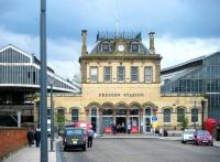 View of the Fishergate entrance to Preston station from the north. Two of the five 1879-80 built longitudinal pitched roofs can be seen on either side.<br><br>[Veronica Clibbery&nbsp;17/09/2015]