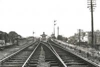Looking east towards Tollcross on 1 August 1961. The station closed to passengers on 5 October 1964.<br><br>[G H Robin collection by courtesy of the Mitchell Library, Glasgow&nbsp;01/08/1961]