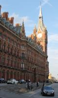 Although most of the frontage is in shadow the low sun is still illuminating the St Pancras clock tower on 11th September 2015. <br><br>[Mark Bartlett&nbsp;11/09/2015]