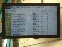 There is a very sparse timetable for services to Portbou from the south for an early August, for period from Friday early evening through to mid morning Saturday, as indicated on the arrivals display for that period. Of note is the fact that all signage at stations has English as one of the three languages, plus rather than RENFE the provider is shown as Adif - the Spanish version of Network Rail.<br><br>[David Pesterfield&nbsp;07/08/2015]
