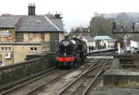 B1 61264 crossing the bridge over the Esk at Grosmont on 3 April 2008 on its way to the NYMR shed. <br><br>[John Furnevel&nbsp;03/04/2008]