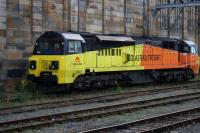 Beautifully designed locomotive? - I should Co-Co!  Colas 70805 waits at Carlisle between duties on 28th September 2015.<br><br>[Colin McDonald&nbsp;28/09/2015]