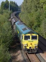 Freightliner 66550 runs through Alloa Loop with coal from Hunterston High Level to Longannet Power Station.<br><br>[Bill Roberton&nbsp;29/09/2015]