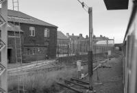 Glimpsed from a passing train in 1988, the Cowans, Sheldon (famous for turntables and cranes) St Nicholas Works in Carlisle, closed the previous year.<br><br>[Bill Roberton&nbsp;//1988]