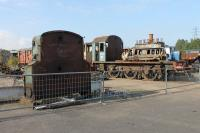 What remains of 08628 sits outside the RSR workshops in October 2015 while the last few usable parts are removed. The fuel tank, seen here alongside the stripped shunter, had the appearance of a tombstone. Although dismantling had been a slow process [See image 40433], looking at this loco it seemed that 08628 could not be around that much longer and by February 2016 it was in Andrew Goodman's yard near Sutton Coldfield in this stripped-down condition.<br><br>[Mark Bartlett&nbsp;04/10/2015]