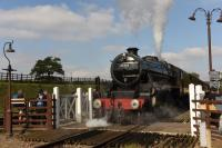 In between its main line forays <I>Black 5</I> 45305 is a regular performer on the GCR where it is based. It is seen here leaving Quorn and Woodhouse for Leicester North with a passenger service during the 2015 Autumn Steam Gala. <br><br>[Peter Todd&nbsp;02/10/2015]