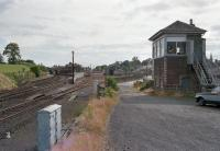 Looking west over Cupar with the passenger station on the left, goodsyard centre and signalbox on the right. 26 July 1986.<br><br>[Bill Roberton&nbsp;26/07/1986]