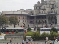 This tram has just crossed the Galata Bridge (over 'The Golden Horn') and is stopped at the Eminonu station in front of the New Mosque. 23 September 2015.<br><br>[John Thorn&nbsp;23/09/2015]