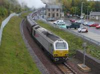 60009 passes through Gorebridge station with the Borders steam train on 11 October with 67026 on the rear.<br><br>[Bill Roberton&nbsp;11/10/2015]