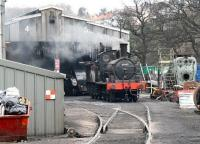 The only survivor of the 289 examples of GER class J15 (the most numerous of all GER classes), Stratford built 65462 simmers in the shed yard at Grosmont on 3 April 2008 with A4 Pacific 60019 <I>Bittern</I> standing in the background just inside the shed. [See image 52887]<br><br>[John Furnevel&nbsp;03/04/2008]