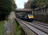 Sydney Gardens were laid out in 1795 by the architect Harcourt Masters; they are the oldest park in Bath. A canal and a railway line are of particular interest to transport enthusiasts. This down HST is heading for Bath Spa on recently lowered track.<br><br>[Ken Strachan 10/10/2015]