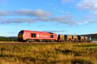 With the jets blasting, 67018 Keith Heller works the rail head treatment train back to Inverness from Moy on a sunny October afternoon.<br><br>[John Gray&nbsp;13/10/2015]