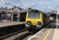 Freightliner 70010 powers through Didcot with an eastbound container train on 081015. <br><br>[Peter Todd 08/10/2015]