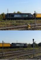 A sunny 8th October 2015 saw DRS Class 37s top and tail a Network Rail trainset through Didcot and on to the Oxford line. 37605 was the lead loco with 37604 trailing.<br><br>[Peter Todd 08/10/2015]
