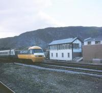 HST 254-023 at Aviemore with an ASLEF Centenary Special on the 24th of April 1980. This was apparently the first HST on the Highland.<br><br>[Peter Todd&nbsp;24/04/1980]