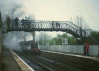 NB 0-6-0 673 <I>Maude</I> and LNER 4-4-0 246 <I>Morayshire</I> passing Kingsknowe station with the S.L.O.A. North Briton railtour on 10th May 1981. This was the second day of a two day tour and this leg ran from Larbert into Edinburgh, round the suburban line and then out to Mossend via Shotts. The previous day A4 60009 had failed while hauling the tour.  <br><br>[Peter Todd&nbsp;10/05/1981]