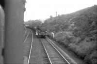 Black 5 45192 ascending the bank with a freight at Harthope in the sixties. Photographed from the footplate of a banker returning to Beattock station. <br><br>[John Robin&nbsp;//]