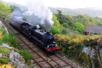 On the penultimate day of the 2015 Jacobite steam service, K1 2-6-0 62005 makes a spirited start away from Arisaig heading for Mallaig. Arisaig is the westernmost station on the UK rail network.<br><br>[John Gray&nbsp;23/10/2015]