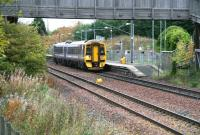 Leaving the platform at Brunstane southbound on 21 October is 158728 with the 1031 service to Tweedbank. <br><br>[John Furnevel&nbsp;21/10/2015]