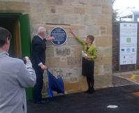 Andy Savage, executive director of the Railway Heritage Trust, and Christine May, chair of the Fife Historic Buildings Trust, today (20/10/2015) opened the Laird's Waiting Room at Ladybank station.<br><br> <br><br> The building may be the oldest building at the station site and may have originally been a ticket office and waiting room. The Lairds in question are the Haig family.<br><br>[John Yellowlees&nbsp;20/10/2015]