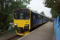 A Truro to Falmouth Docks service calls at Falmouth Town station on 16 October 2015.<br><br>[John McIntyre&nbsp;16/10/2015]