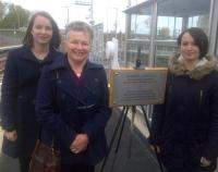 Scene at Shawfair station on 25 October 2015, where Margaret Hurst unveiled a plaque in memory of the former NBR Study Group chairman, Jeff Hurst.<br><br>[John Yellowlees&nbsp;25/10/2015]